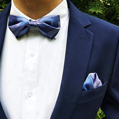 fjchyy Ilusión Traje de novia de boda Traje Azul Corbata de moño para hombre Camisa Accesorios de cuello Pajarita de moda: Amazon.es: Ropa y accesorios
