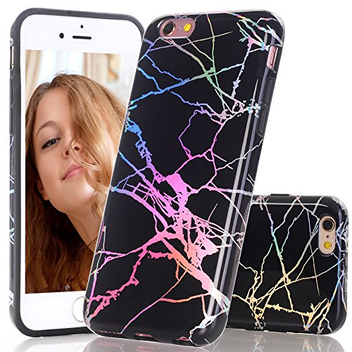 BAISRKE Holographic Marble for iPhone 6 6s, Bling Bling Shiny Laser Gorgeous Style Design Flexible Glossy Soft Rubber TPU Case for iPhone 6 6s 4.7 [Black]