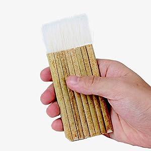 Sheep Hair Hake Brush, Bamboo Handle Hake Blender Brush for Watercolor/Pottery/Kiln Wash/Dust Cleaning/Ceramic/Decor Painting(8 Reeds)