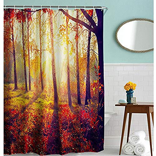 DENGYUE Flaming Morning Grass Forest Shower Curtain, Bright Sunshine Vacation Hiking Beautiful Natural Scene Light Weight Mildew Free Bathroom Curtain