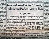 AUTHERINE LUCY 1st University of Alabama NEGRO Black Student 1956 Old Newspaper