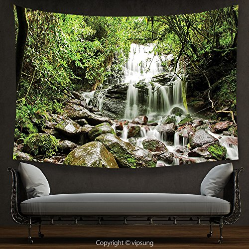 (vipsung House Decor Tapestry Waterfall Decor Rain Forest with Waterfall on Rock Stones Foliage Dense Lush Habitat Climate Art Green Wall Hanging for Bedroom Living Room Dorm)