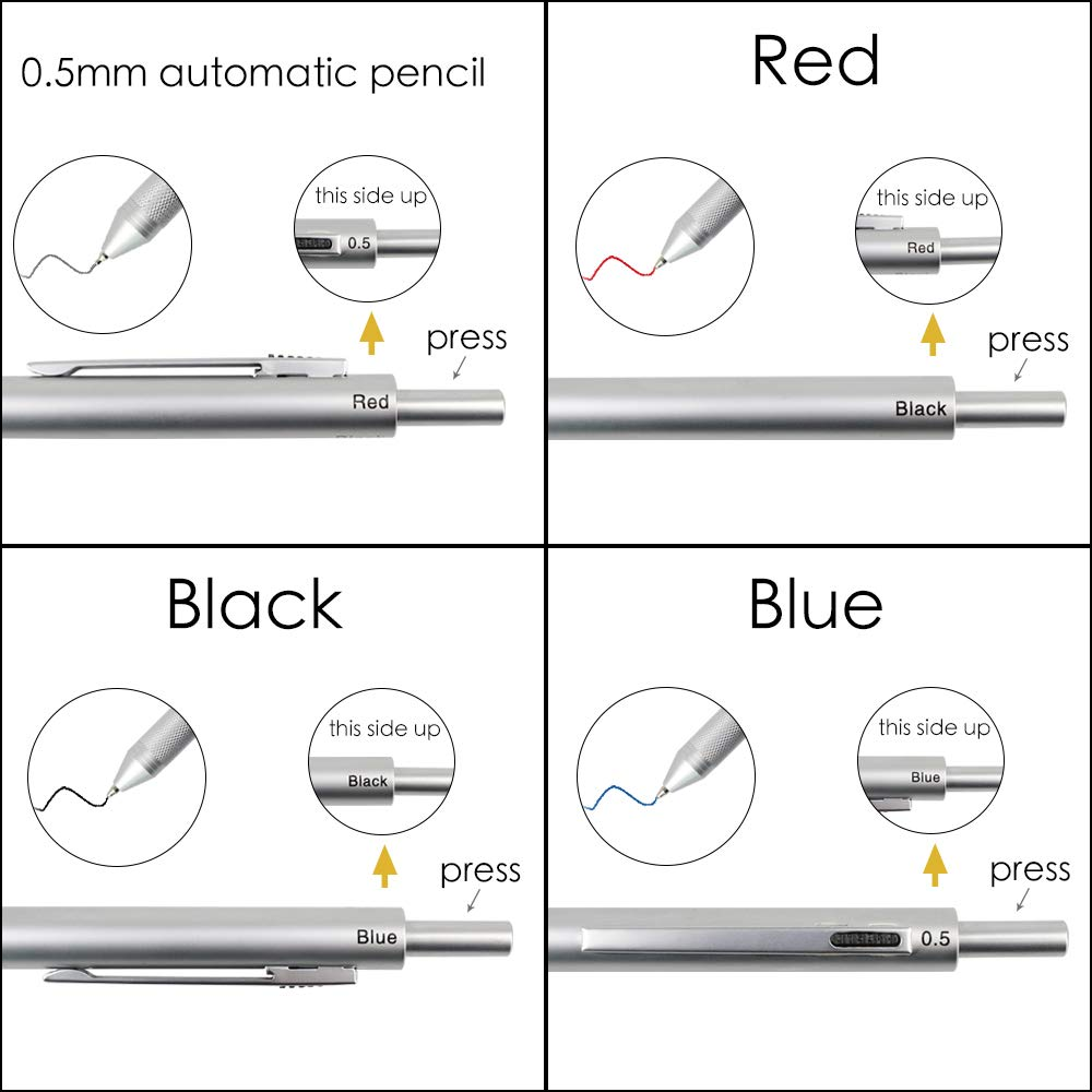 SMTTW 4-in-1 Multicolor pen-multi color pen in one-mechanical pens- Metal Cased Multifunction Pen - Black Ball Pen, Blue Ball Pen, Red Ball Pen and 0.5mm Mechanical Pencil (Silver) by SMTTW (Image #5)