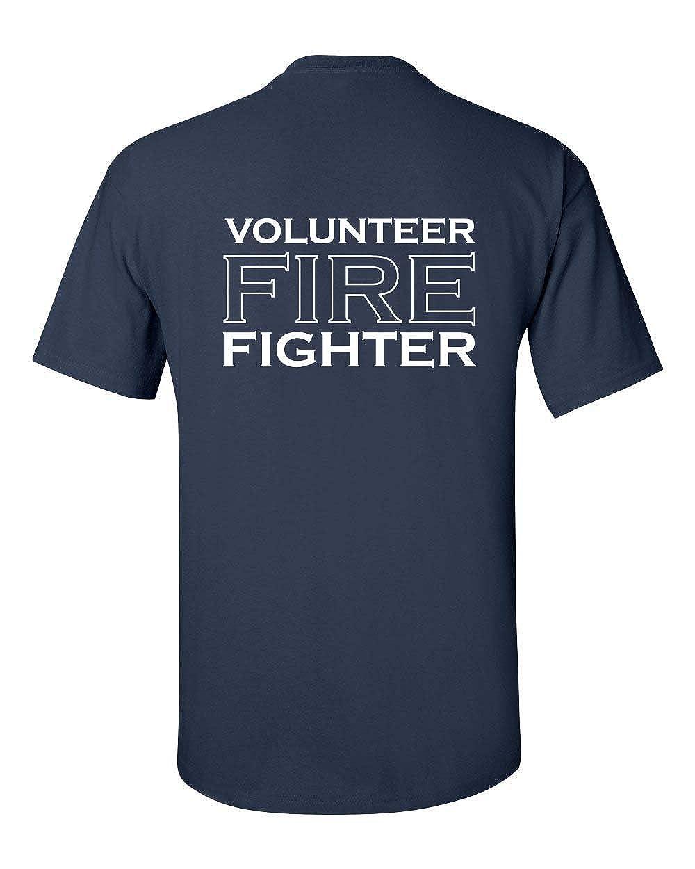 Volunteer Firefighter Badge Printed on Front - Words on Back Men's T-Shirt 22037-$P