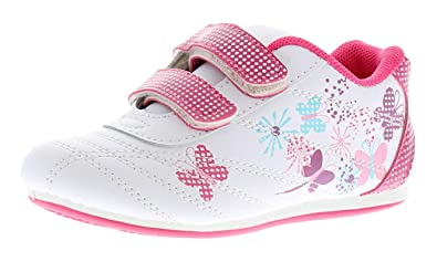 1bafaabb4b69 New Younger Girls Childrens White Pink Touch Fastening Trainers -  White Multi -