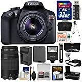 Canon EOS Rebel T6 Wi-Fi Digital SLR Camera & EF-S 18-55mm IS II with 75-300mm III Lens + 32GB Card + Case + Flash + Battery & Charger + Tripod Kit