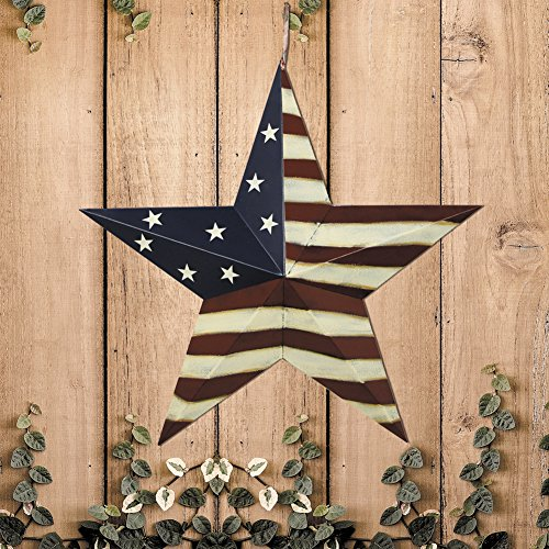 YK Decor Patriotic Old Glory American Flag Barn Star 4th of July Rustic Metal Dimensional 3D Star Wall Decor, (22'') by YK Decor (Image #4)