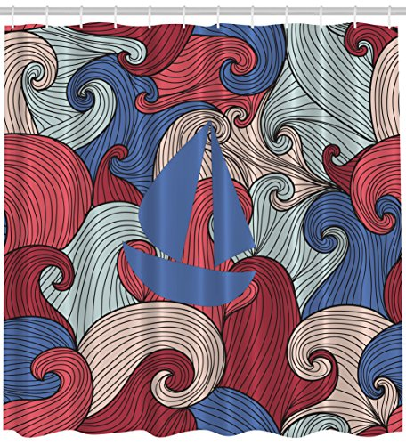 Ambesonne Sailboat Psychedelic Stormy Seas Shower Curtain...