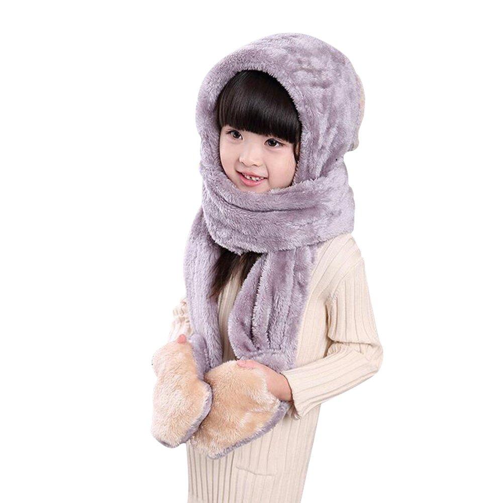 Bonnet FABLCREW pour enfants avec /écharpe en fausse fourrure et gants id/éal pour l/'hiver Beige Rabbit L en forme de lapin