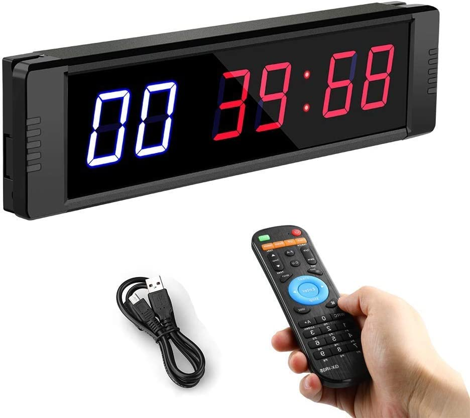 Seesii Training Interval Timer,LED Gym Timer Count Down/Up Clock Stopwatch with Remote 1 inch