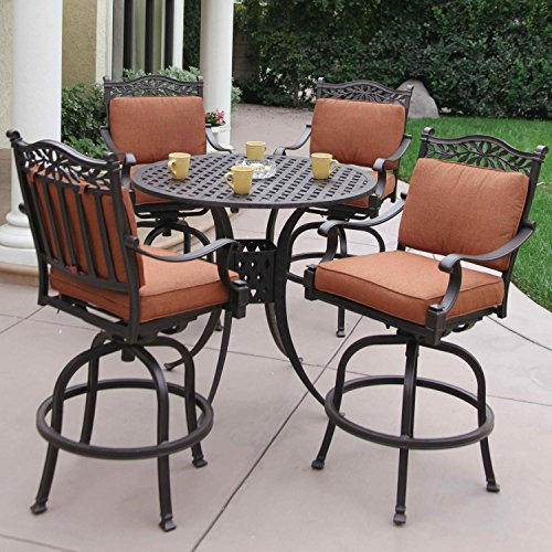 Darlee Charleston 5 Piece Cast Aluminum Patio Bar Set With S