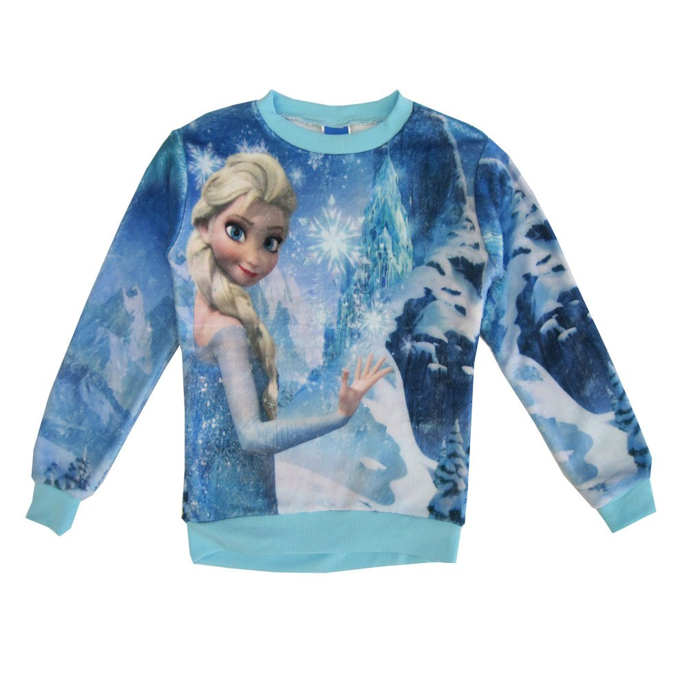 Disney Little Girls Blue Frozen Inspired Elsa Wintery Print Sweater 6
