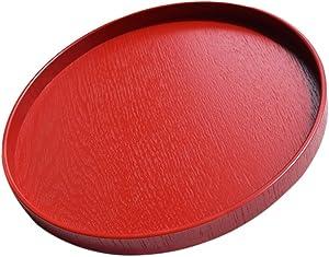 Wooden Breakfast Food Serving Tray Rustic Round Food Breakfast Platter Red - Red, 30cm