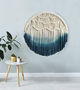 Macrame Wall Hanging Blue Dream Catcher Moon Tapestry Wall Art Home Wall Decor,23.6