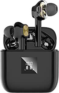 Wireless Earbuds Bluetooth 5.0 Headphones, Dual Dynamic Drivers Wireless Headphones with HiFi Stereo Sound, Deep Bass in-Ear Earphones with 4 Built-in Mics, LED Display Charging Box for iPhone/Android
