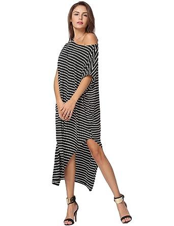f3f1d712927 Romacci Women Batwing Sleeve Off-Shoulder Split Asymmetric Loose Long Dress  Striped Casual Maxi Plus