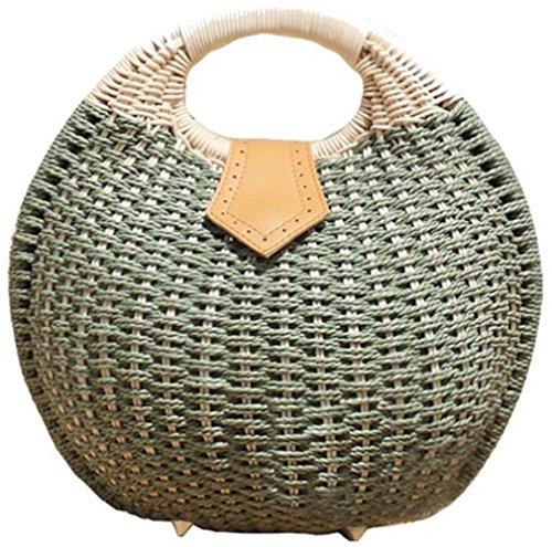 Simple Balloon Style Straw Hand Bag  Green