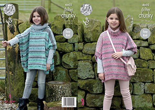King Cole Girls Chunky Knitting Pattern - Easy Knit Polo Neck or Round Neck Ponchos (4602)