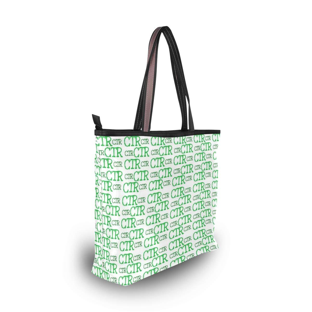 Women Ctr Green Pattern Large Tote Bag Shoulder Bag Lightweight For Gym Hiking Picnic Travel Beach Waterproof Handbag