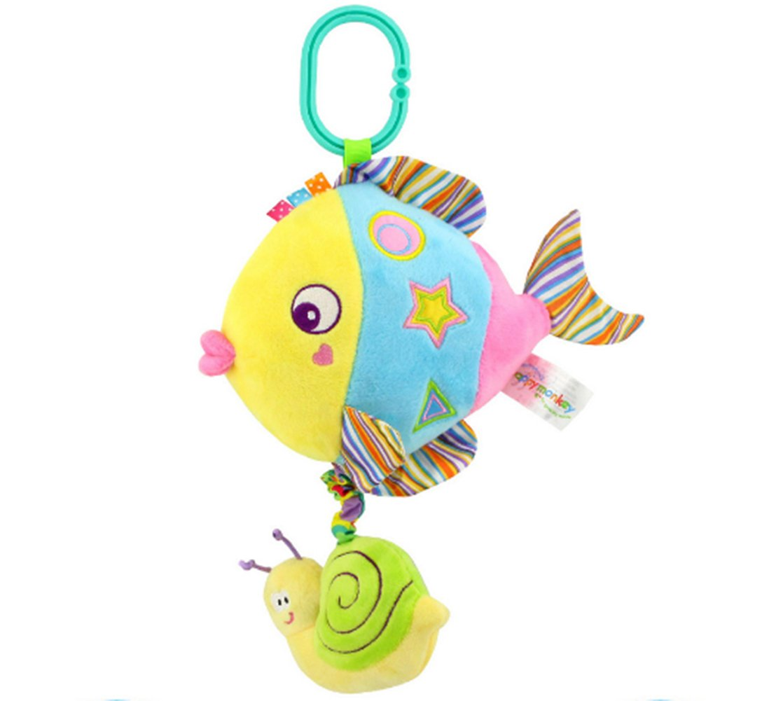 Rolina Baby Marine Animal Musical Plush Toys Infant Stroller Toys Toddler Stuffed Toys Rattle Crib Toys (Colorful Fish) by Rolina (Image #1)