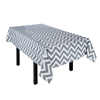 LinenTablecloth Charcoal And White Chevron Rectangular Cotton Tablecloth,  60 X 84 Inch