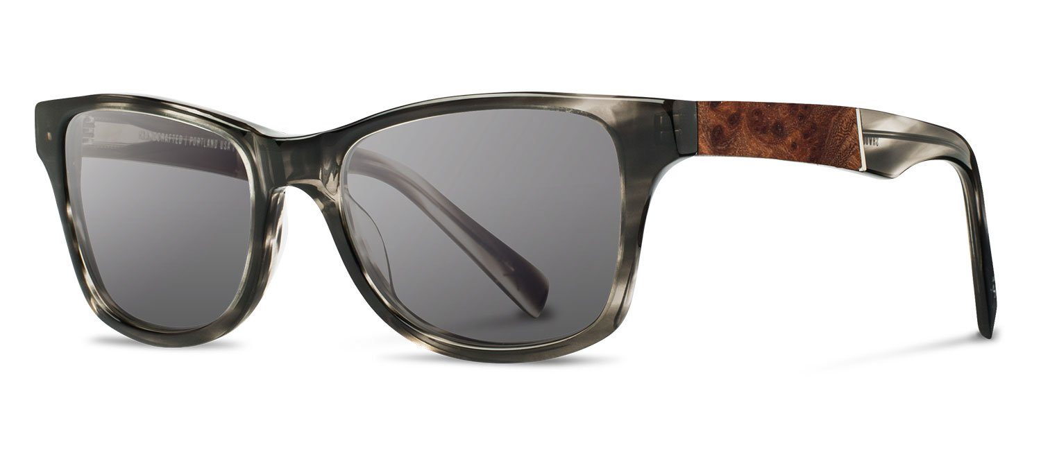 Shwood - Canby Acetate, Sustainability Meets Style, Pearl Grey/Elm Burl, Grey Polarized Lenses by Shwood