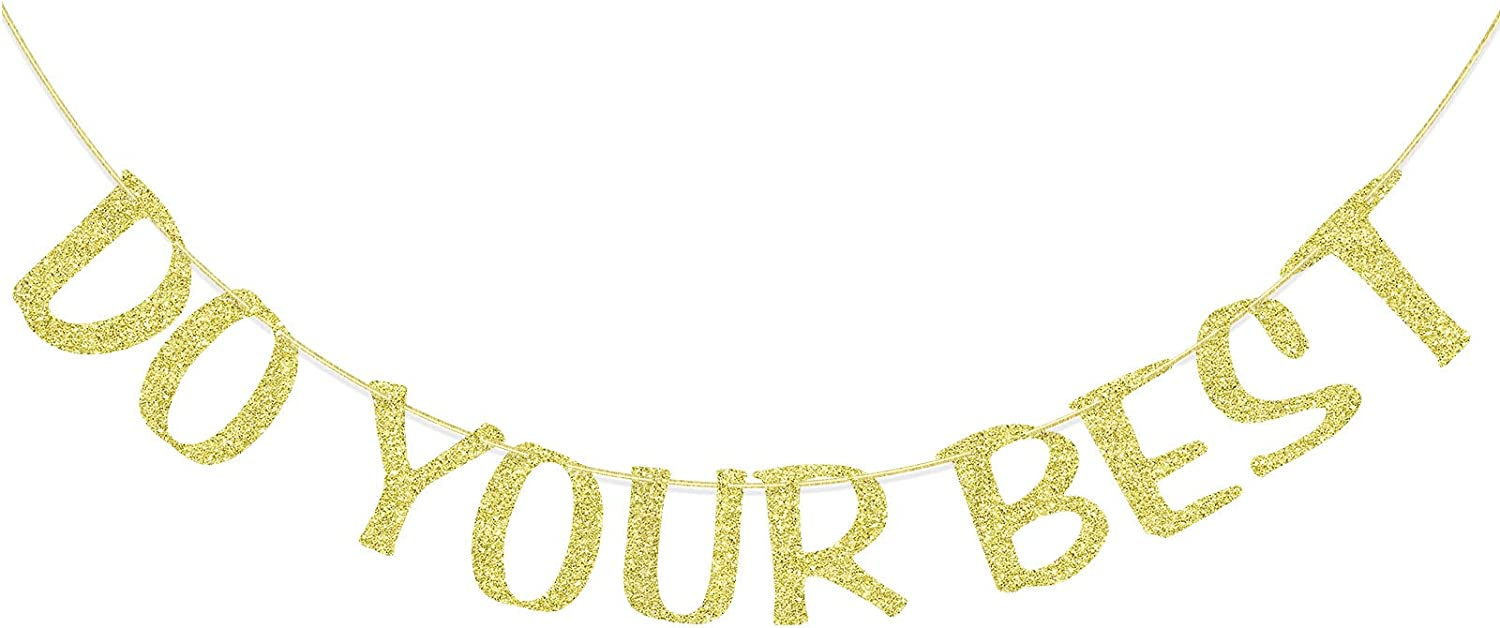 Do Your Best Gold Glitter Banner, Motivational Quotes Party Supplies, Inpirational Sayings Sign, Children Room Wall Decoration