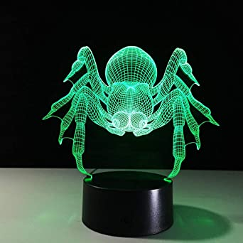 Colorido USB Spider Shape 3D Illusion Lámpara Hogar Dormitorio ...