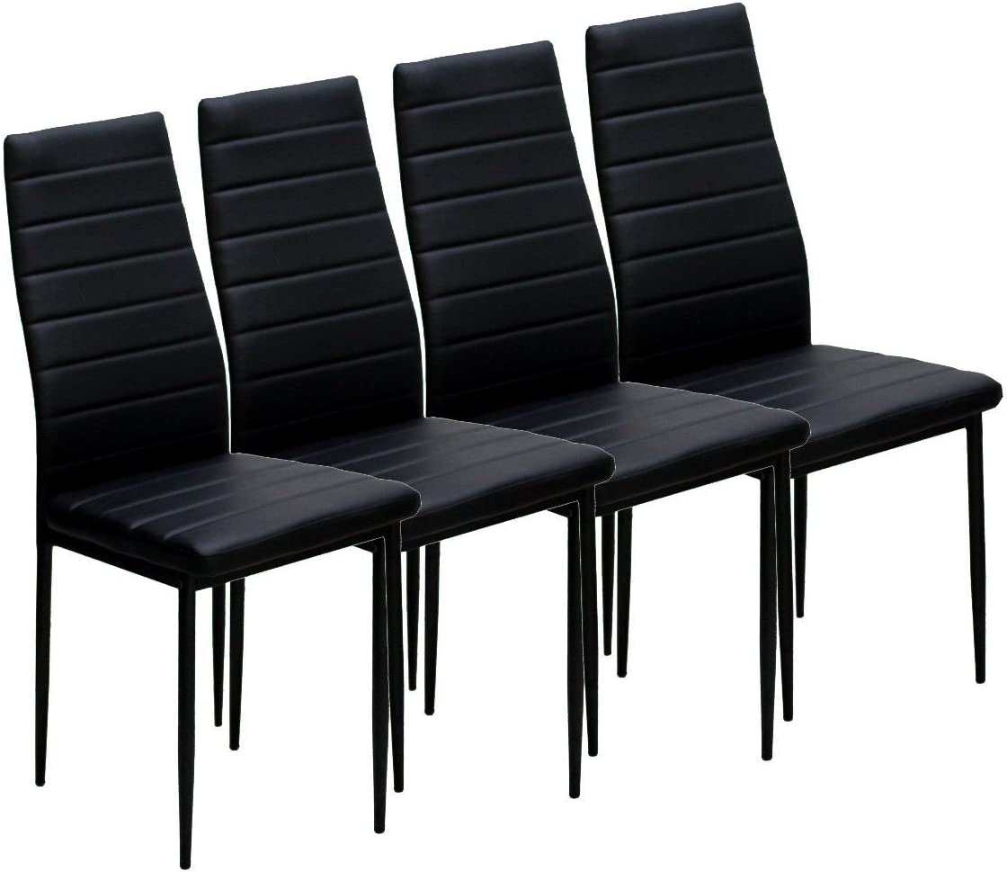Azadx Elegant Rectangular Casual Simple Assembled Dining Table and Set of 4 Chairs Black 4 Chair