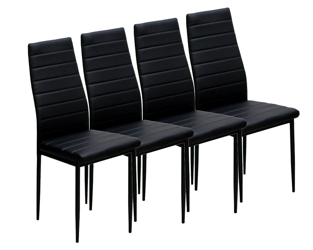 Azadx Elegant Rectangular Casual Simple Assembled Dining Table and Set of 4 Chairs Black (4 Chairs)