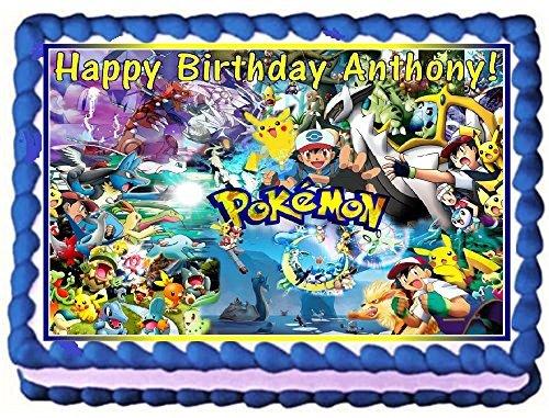 Pokemon Personalized Edible Cake Topper Image -- 1/4 Sheet -