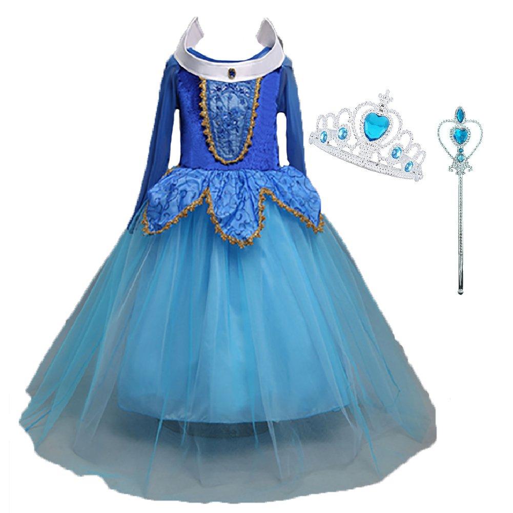 Déguisement Princesse Fille, LiUiMiY Costume Enfant Bébé Halloween Carnaval Noël Cosplay Anniversaire Fête avec Baguette magique Couronne product image