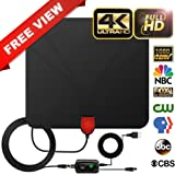 HDTV Antenna with HD Indoor Digital Amplifier Signal Booster of 60-80 Miles Long Range for 1080P and 4K Free TV Channels Amplified 20ft Coax Cable
