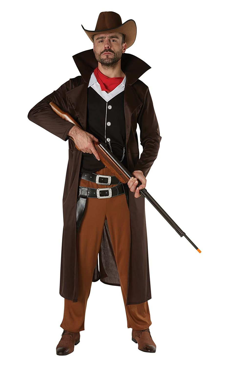 3ed3f547d19 Gunslinger Mens Fancy Dress Wild West Cowboy Shootout Book Day Adults  Costume (M L Up to 42