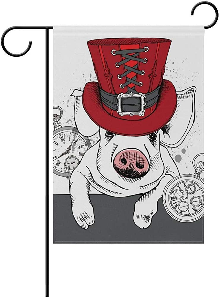 Johnnie Pig in A Red Steampunk Top Hat Welcome Garden Flag 12 X 18 Inches, Double Sided Seasonal Outdoor Flag and Best for Party Yard Home Decor