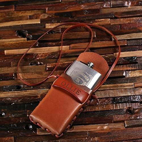 amazon com groomsmen s leather holder carrier with 8oz metal hip