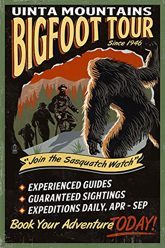 Uinta Mountains, Utah - Bigfoot Tour - Vintage Sign (9x12 Art Print, Wall Decor Travel Poster)
