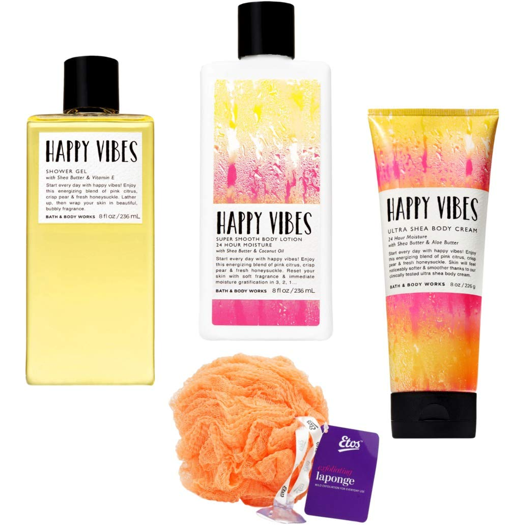 Happy Vibes Set (4 Piece) - Shower Gel 8 oz, Lotion 8 oz, Body Cream 8 oz, and Loofah; Signature Collection Gift