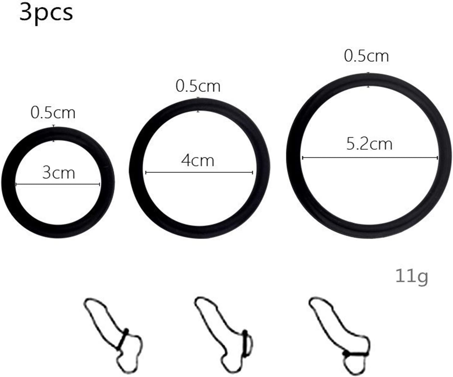 Mens Black Silicone Delay Resistance Exercise Ring 3 Size