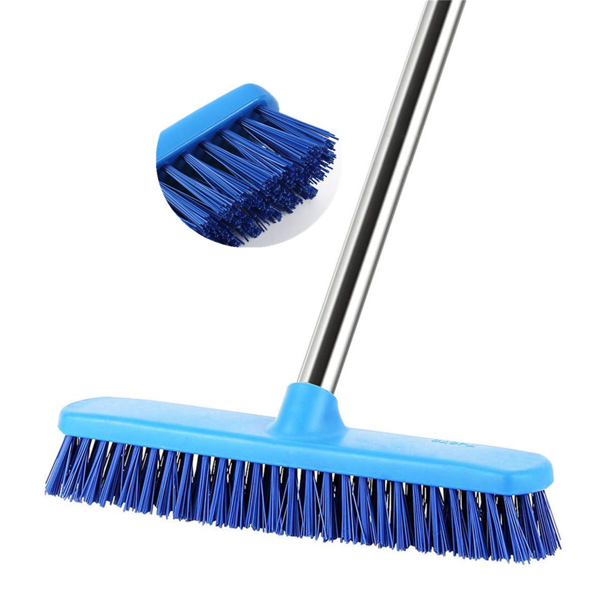 YCUTE Commercial Floor Scrub Brush with Long Handle 52'', 12'' Multi-Surface Stiff Brush for Tile, Grout, Concrete, Patio, Garage, Deck and Outdoor Algae by YCUTE