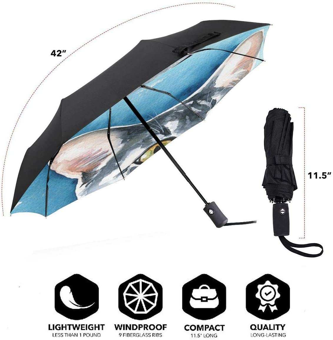 WUHAN1 Cat-painting Automatic Tri-fold Umbrella Inside Print One Size