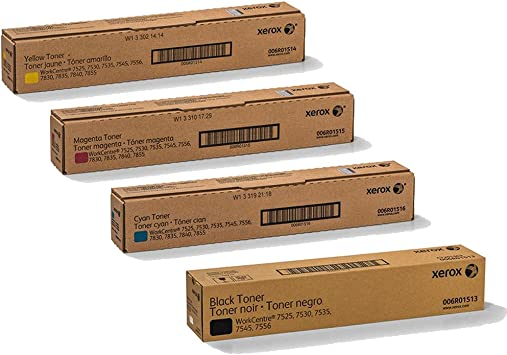 006R01515 7545 7835 7830 Made in USA Color Toner Cartridges for Xerox WorkCentre 7855 Black, Cyan, Yellow, Magenta, 5 Color Value Pack 7845 7525 006R01513 006R01516 006R01514 7535
