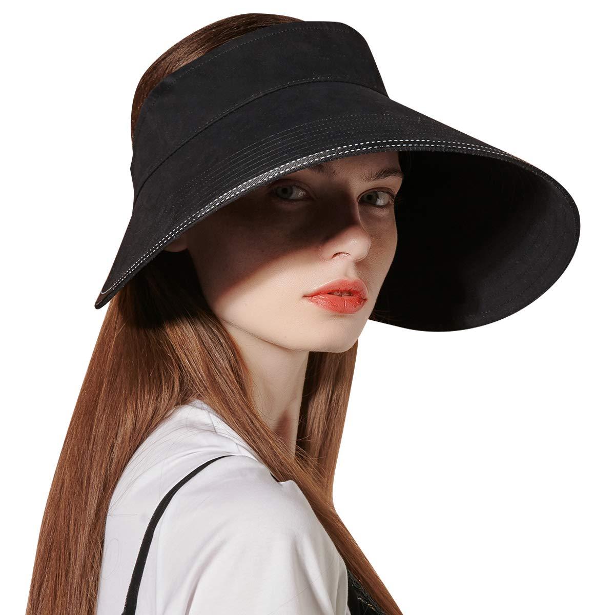 CACUSS Women's Cotton Sun Hat UPF50+ Large Brim Visor Adjustable Velcro Buckle Packable Summer Beach Cap