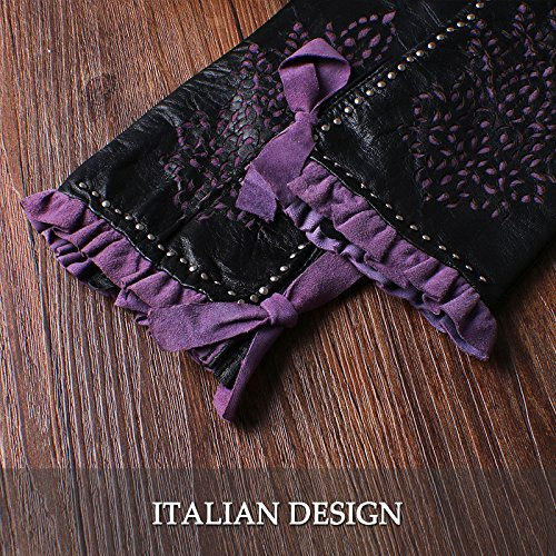 Nappaglo Women's Genuine Nappa Leather Gloves Perforated Winter Warm Short Gloves with Purple Lace (S (Palm Girth:6.5''-7''), Black (Non-Touchscreen)) by Nappaglo (Image #4)