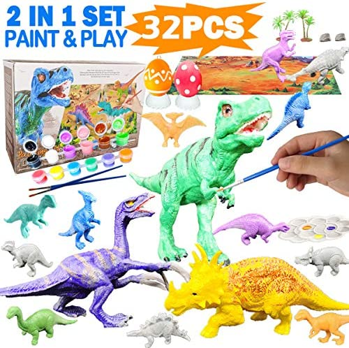 Yileqi Kids Crafts and Arts Dinosaur Painting Kit Party Favors Dinosaurs Toys Art and Craft for Boys Girls Age 4 5 6 7 8 Years Old Fun DIY Kids Paint Birthday Gifts for Children Animal Set