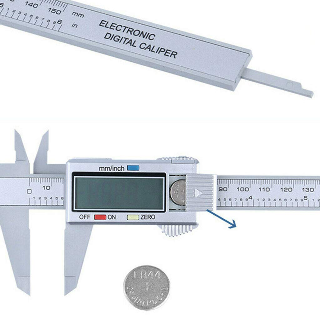 Meatyhjk 6inch 150mm LCD Digital Electronic Carbon Fiber Vernier Caliper Gauge Micrometer