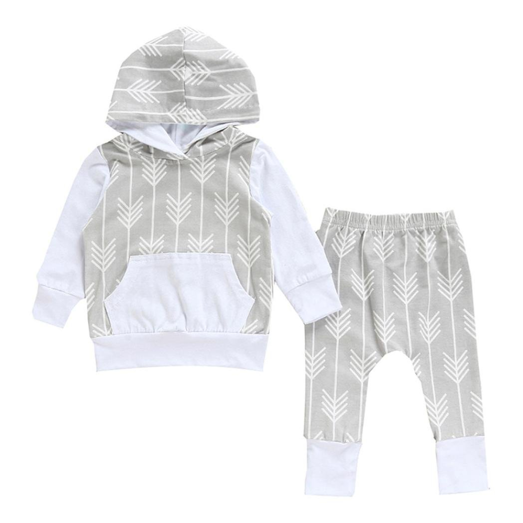 Jchen(TM) Hot Sales! Infant Baby Boys Girls Long Sleeve Hooded Tops Arrows Print Pants Outfits Set for 0-24 Months (Age: 0-6 Months)