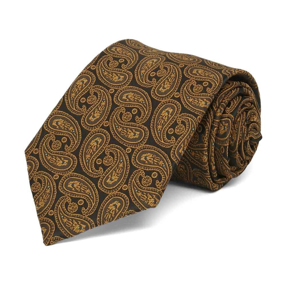 TieMart Boys Cocoa Brown Darlene Paisley Necktie
