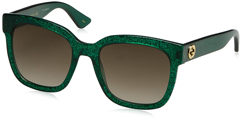 7d4d330a8f6 Amazon.com  Gucci GG0034S 003 Avana-Green-Green 54mm Fashion Sunglasses