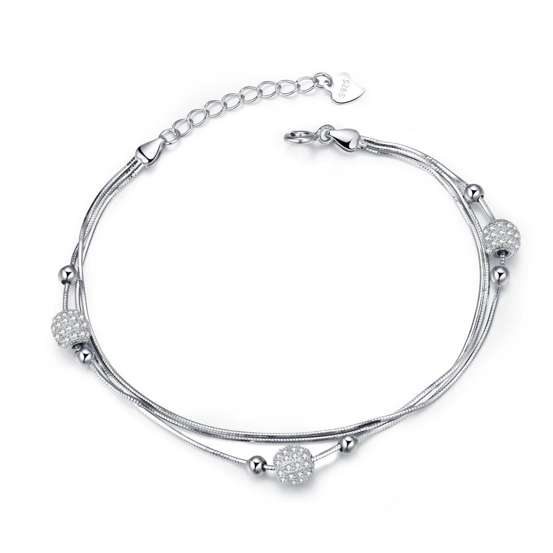 J Vénus Pulsera de plata esterlina para mujer con caja de joyería